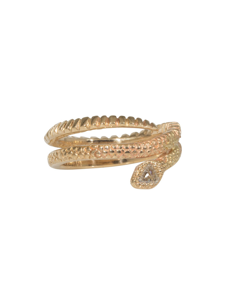 Ophidian Snake Ring with White Diamond in 14k Gold