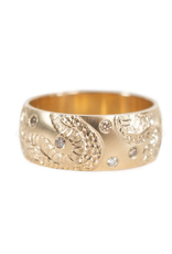 7mm Infinity Serpent Band with Flush Set Diamonds in 14k Gold