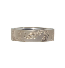 Snake Engraved Flat Band in 14k White Gold