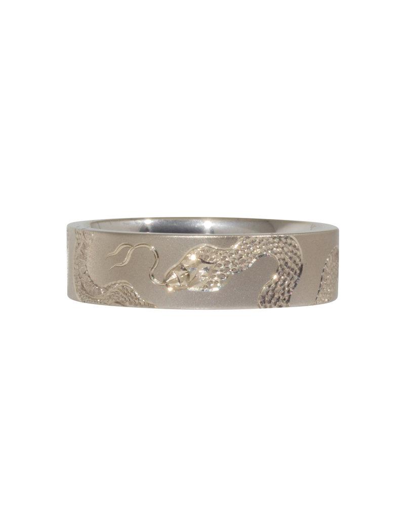 Snake Engraved Flat Band in 14k White Gold