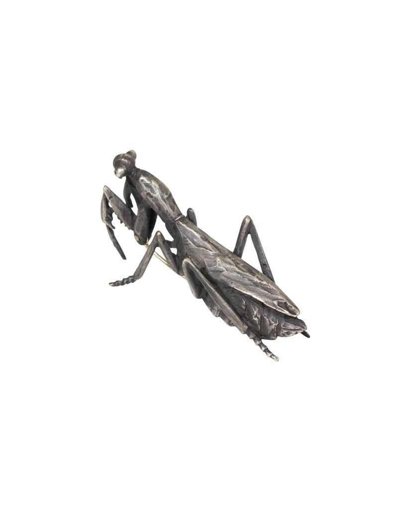 Praying Mantis Brooch in Silver
