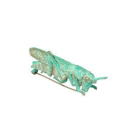 Green Grasshopper Brooch in Bronze