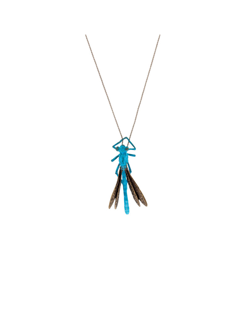 Blue Damselfly Pendant in Bronze