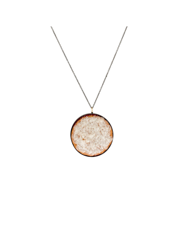 Large Round Pendant with Salmon Scales in Oxidized Silver