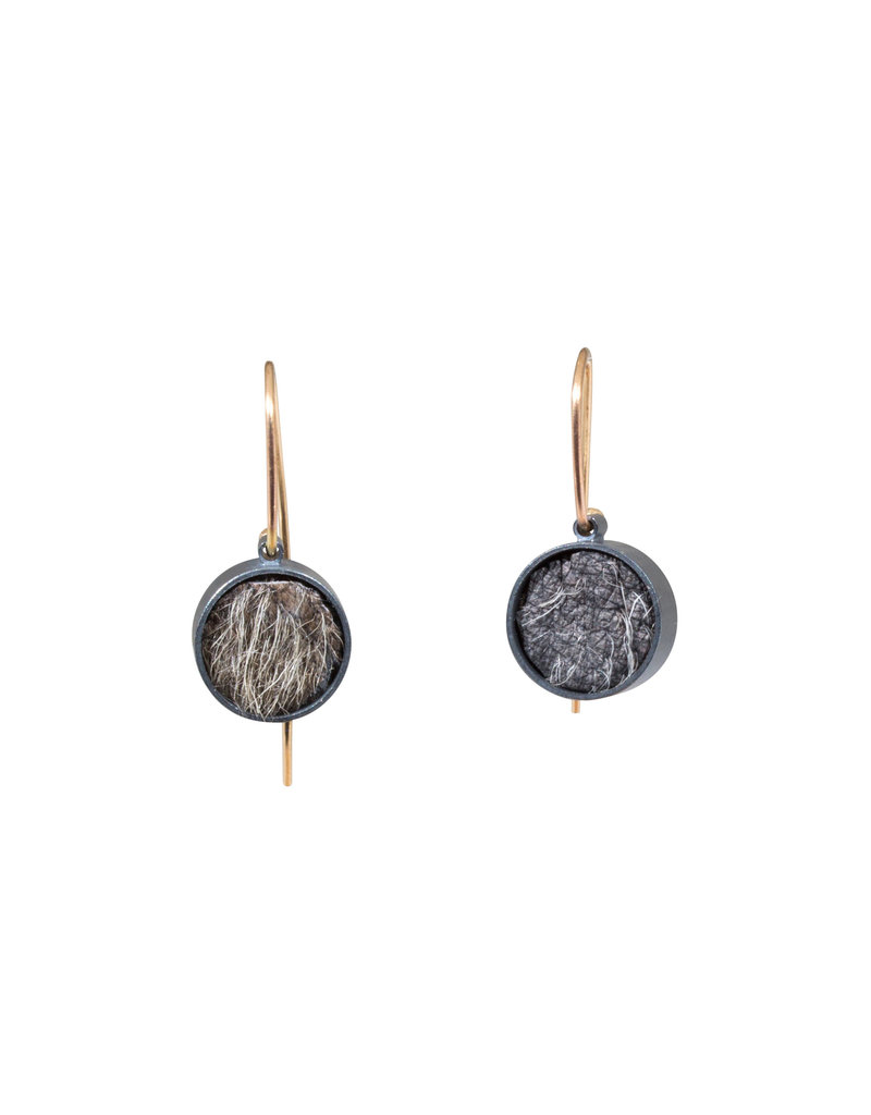 Small Round Earrings with Short Grey Fur in Oxidized Silver