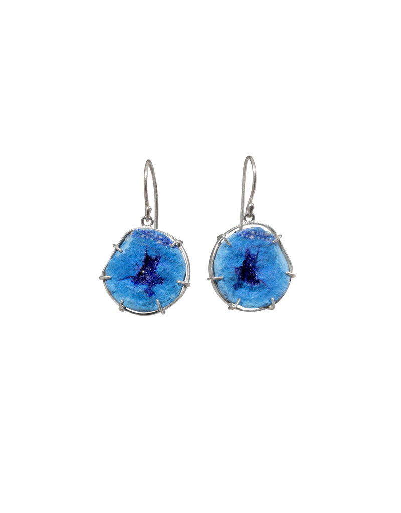 Azurite Geode Dangle Earrings in Silver