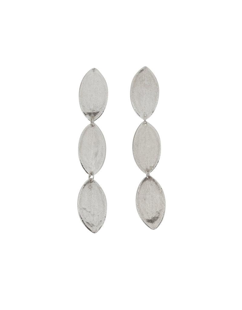 Three Tier Leaf Earrings in Brushed Silver