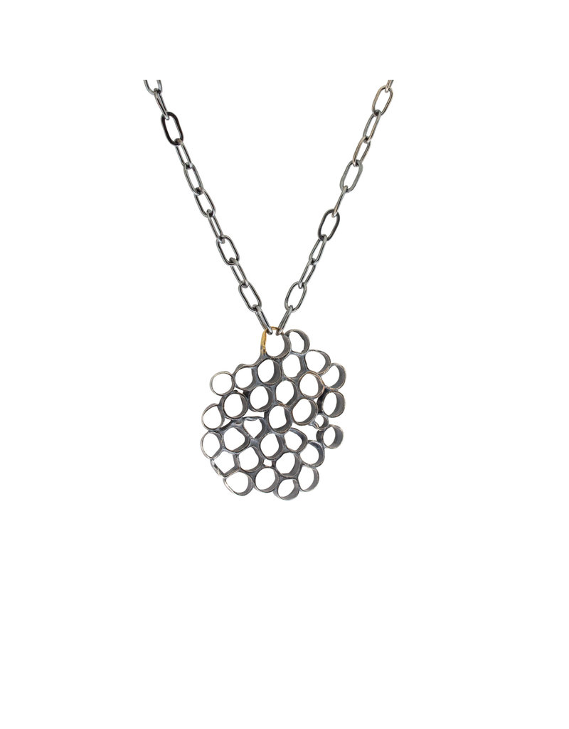 Honeycomb Pendant in Oxidized Silver and 22k Gold