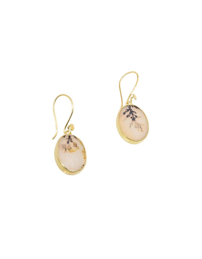 Oval Dendritic Agate Earrings in  18k Gold