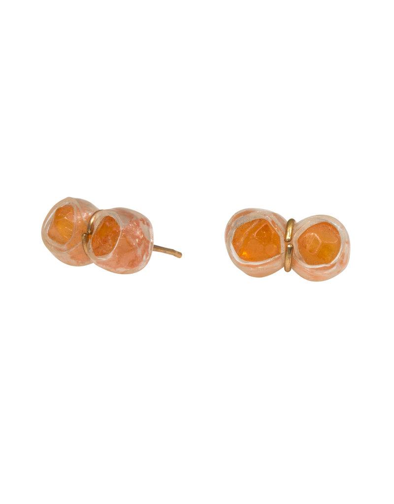 Double Orange Garnet Post Earrings in 14k Gold & Plastic