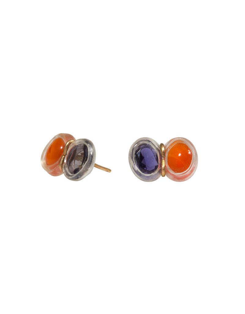 Iolite and Carnelian Post Earrings in 14k Gold & Plastic