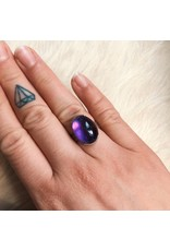 Amethyst Ring in Brushed Silver