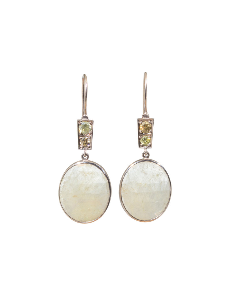 Earrings with White Sapphires and Yellow and Taupe Diamonds in 14k Palladium White Gold