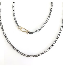 """Bone Link Chain in Oxidized Silver with 18k Gold Clasp - 19"""" ( owned )"""