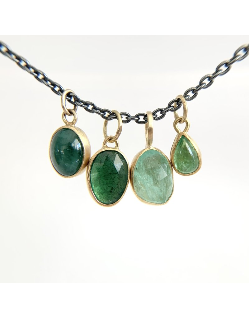 Oval Rosecut Emerald in 22k Gold