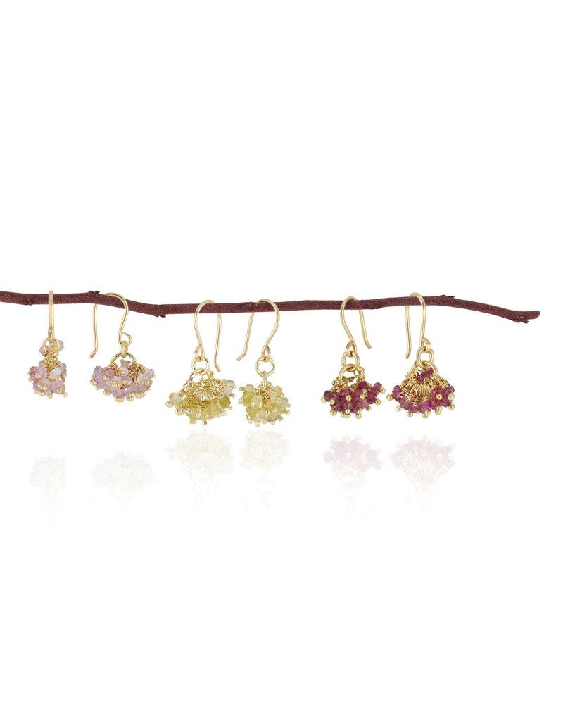 Red Buds Sapphire Bead Earrings in 18k Gold