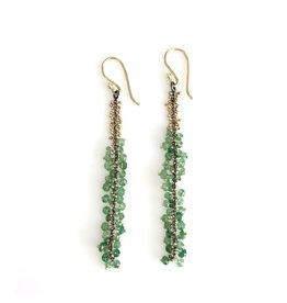 Green Vine Earrings with Tsavorite Garnets and 18k Gold