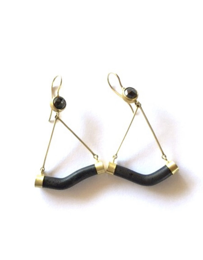 Black Diamond and Black Coral Stick Earrings in 18k Gold