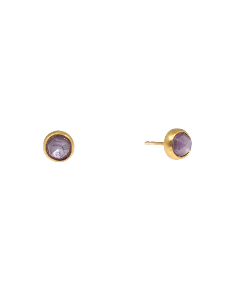 Pink Trapiche Sapphire Post Earrings in 22k and 18k Gold with 14k Posts
