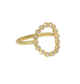 Curved Circle Ring with White Diamonds in 18k Yellow Gold