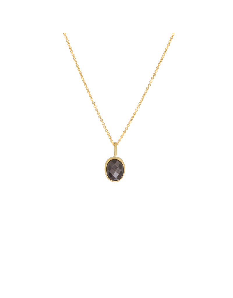 Silver Grey Rosecut Sapphire Pendant in 22k and 18k Gold