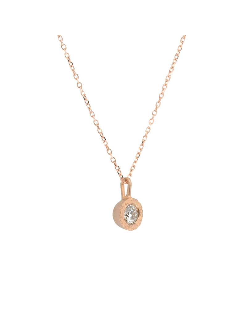 White Diamond Pendant in Sand-Textured 14k Rose Gold