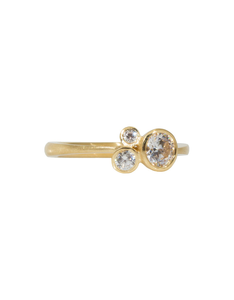 Cluster Engagement Ring in 18k Yellow Gold (CZ Sample)