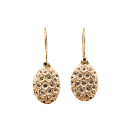 Kame Earrings in 14k Yellow Gold and Black Diamonds