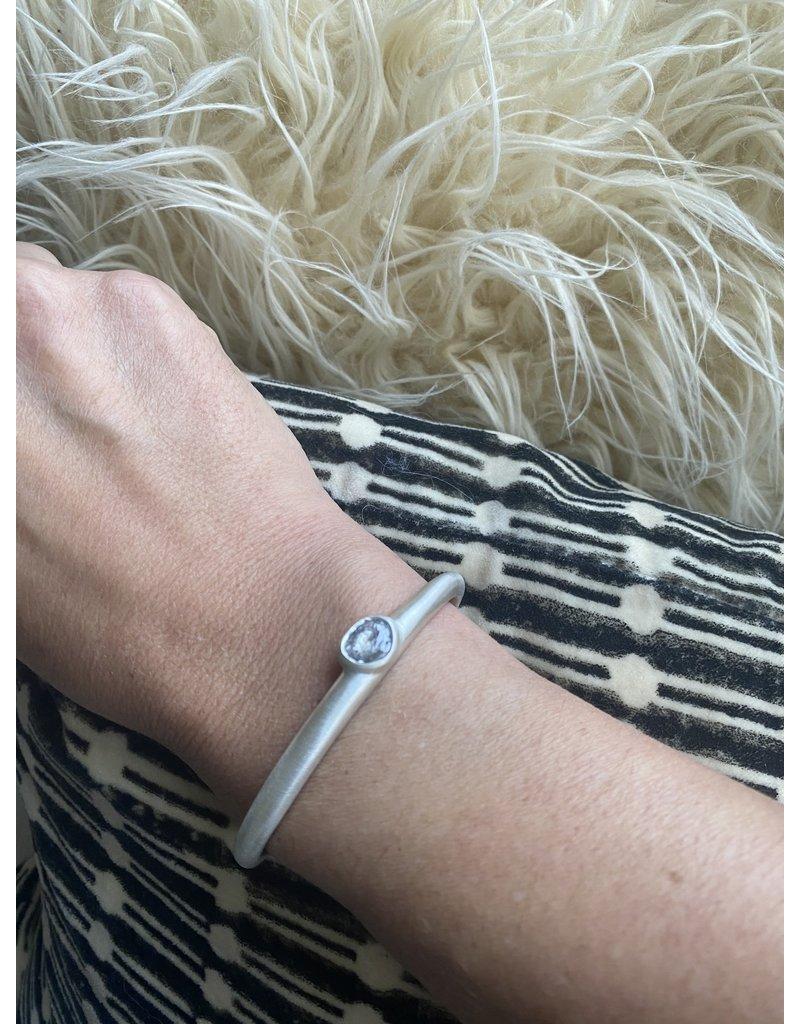 Raw Grey Diamond Cuff in Silver