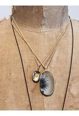 Rosecut Hematite in Quartz Pendant in 18k Gold and Oxidized Silver