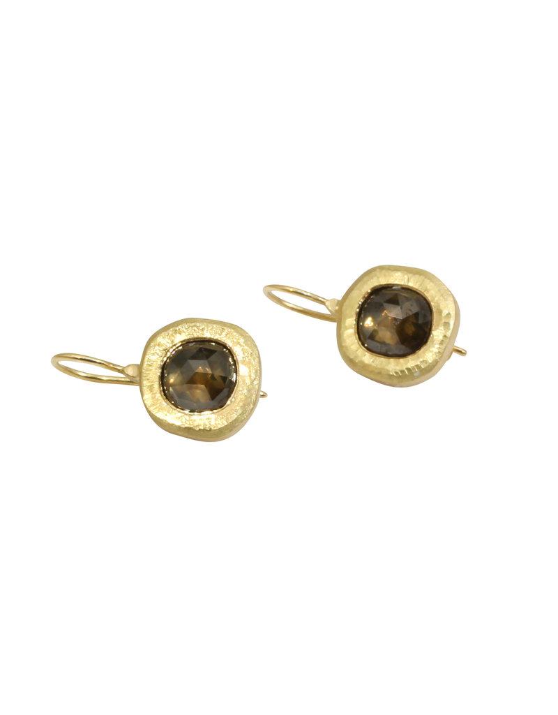 Rustic Cognac Diamond Dangle Earrings in 18k Yellow Gold
