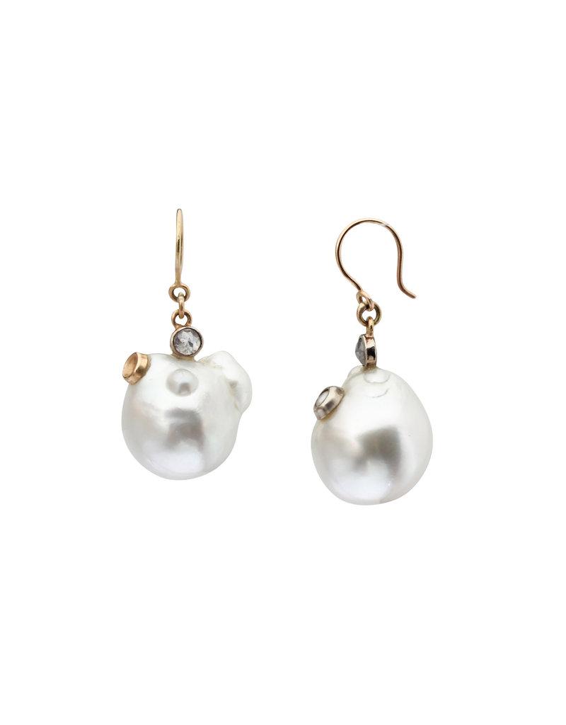 Organic South Sea  Pearl Earrings with Rose Cut Diamonds in 14k Yellow Gold
