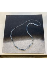 Actinolite Bead Necklace with 18k Palladium White Gold Beads and Oxidized Silver Chain