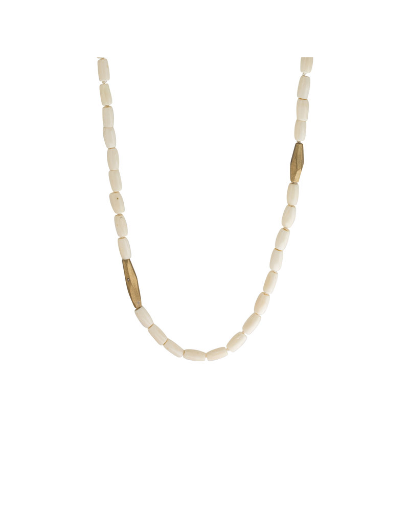 Bone Beads with Cognac Diamonds in Yellow Bronze