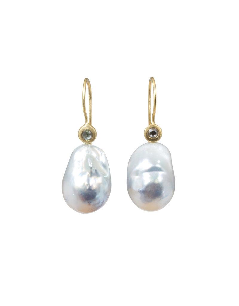 Tahitian Baroque Pearl Earrings with Grey Rose Cut Diamonds in 18k Yellow Gold
