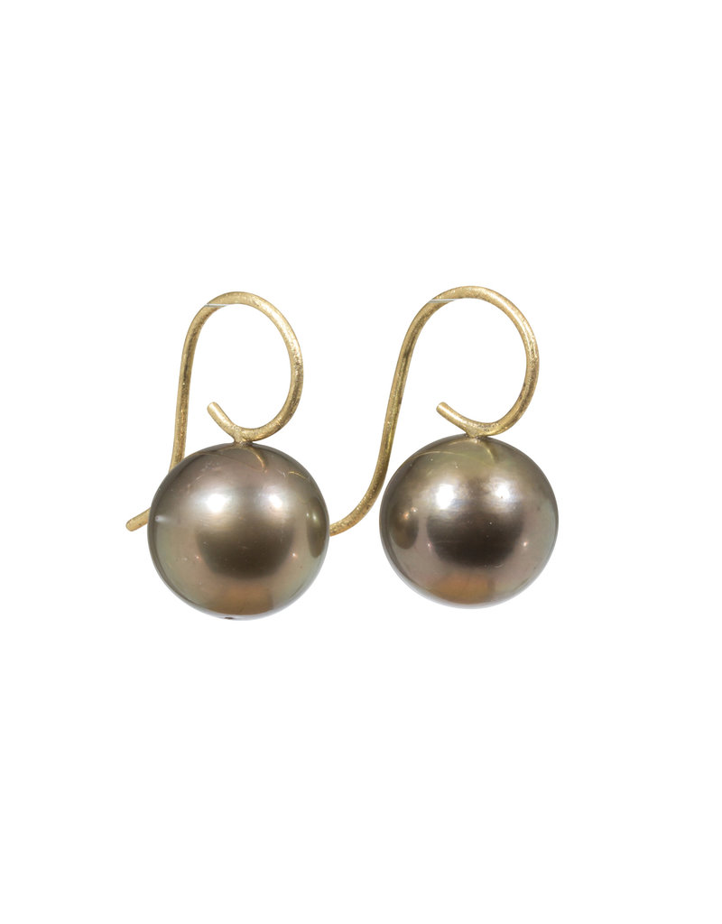 13mm Round Golden Tahitian Pearl Drop Earrings with 18k Yellow Gold