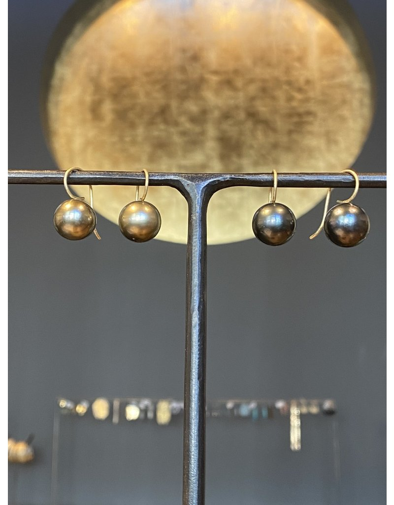 13mm Round Dark Grey Tahitian Pearl Drop Earrings with 18k Yellow Gold