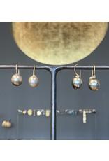 Silver Tahitian Baroque Pearl Teardrop Earrings with 18k Yellow Gold