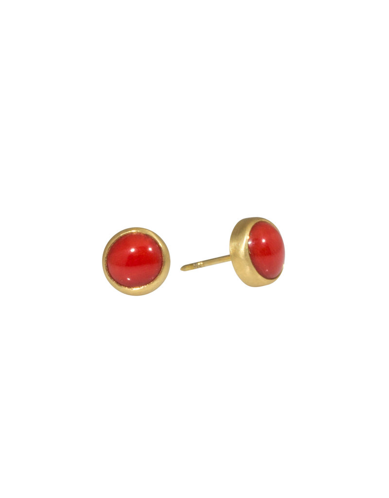 Red Coral Post Earrings with 18k Yellow Gold