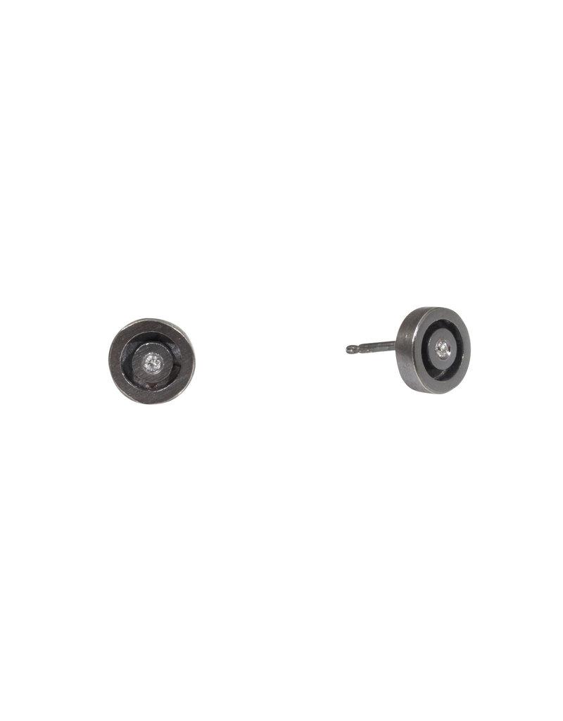 Circle White Diamond Earrings in Oxidized Silver