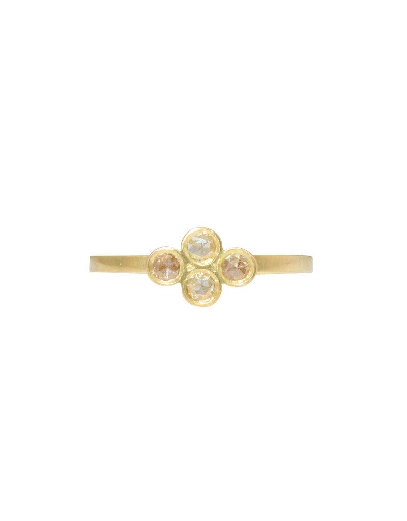 Four Rosecut Diamond Ring in 18k Yellow Gold