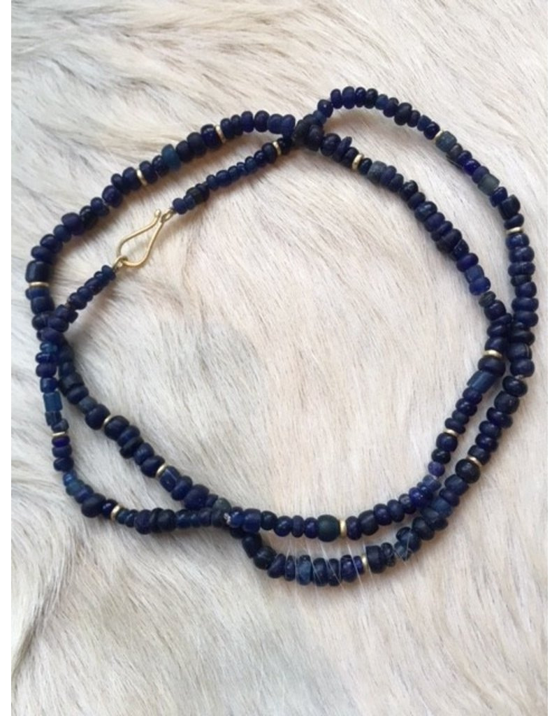 Ancient Indigo Roman Glass Bead Necklace with 18k Gold