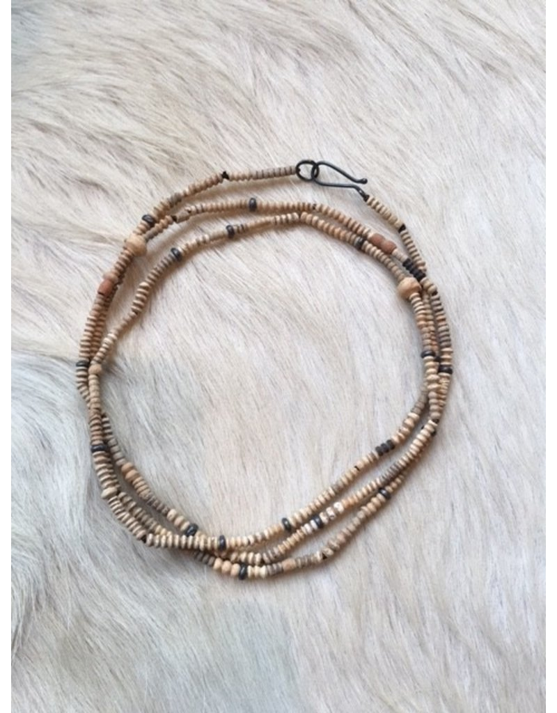 Ancient Malian Clay Bead Necklace with Oxidized Silver