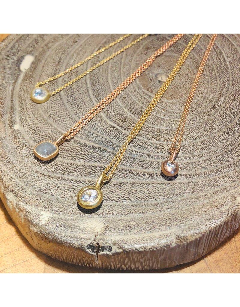 Small Brilliant Diamond Pendant in 14k Rose Gold