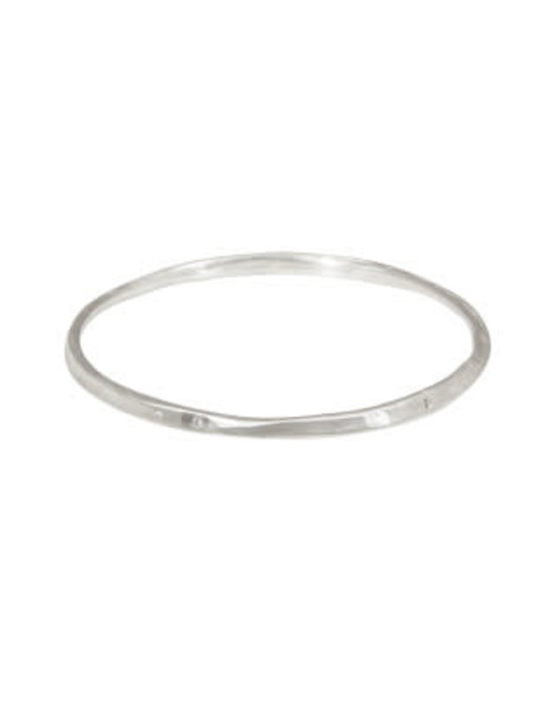 Oval Hammered Twist Bangle with (3) White Diamonds in Brushed Silver