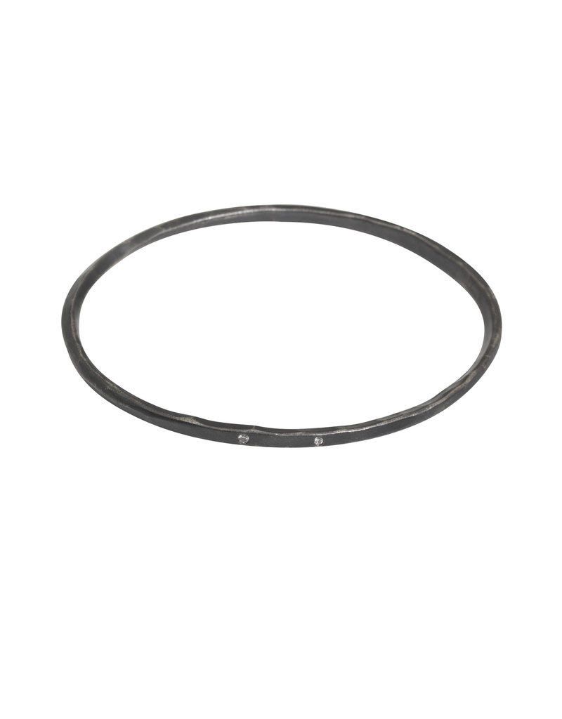 Oval Hammered Twist Bangle with (3) White Diamonds in Oxidized Silver