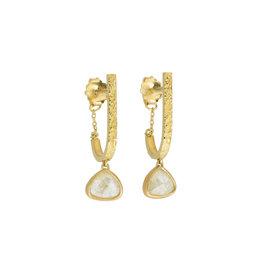 Rosecut Teardrop Diamond Earrings in Sand-Textured 18k Yellow Gold