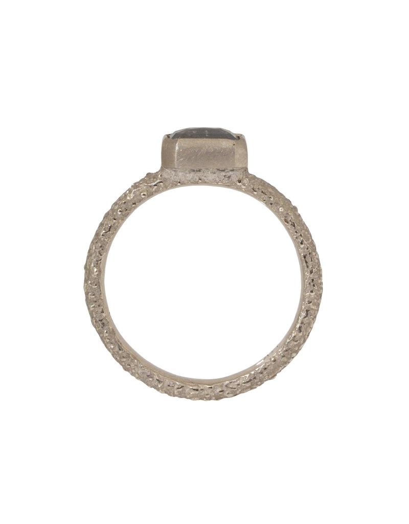 Rectangular Rosecut Diamond Ring in Sand-Textured 14k Palladium White Gold