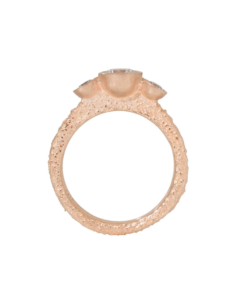Three-Stone Engagement Ring in Sand-Textured 14k Rose Gold (CZ Sample)
