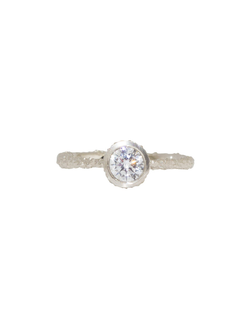 Solitaire Engagement Ring in Sand-Textured Platinum (CZ Sample)